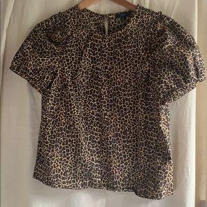 JCrew leopard puff sleeve blouse